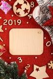 Flatlayachtergrond voor het nieuwe jaar stock foto's