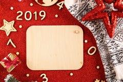 Flatlayachtergrond voor het nieuwe jaar royalty-vrije stock afbeeldingen