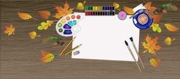 Flatley do artista da mesa Tabela de desenho marrom de madeira ilustração do vetor