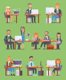 Flatr vector business people workplace office worker or person working on laptop and PC at the table in office coworker. Or character workplace on computer and royalty free illustration