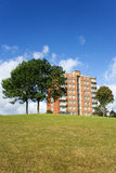 Flats. Block of flats and trees,on top of grassy hill with blue sky and white cloud background stock photos