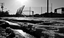 The Flats, Cleveland, Ohio, USA, Bridge. Snowy, Industrial scene in the Flats, Cleveland, Ohio stock photos