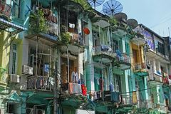 Flats in downtown yangon royalty free stock photos