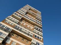 Flats. Looking up at a tall block of flats royalty free stock images