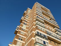 Flats. Looking up at a tall block of flats stock photography