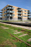 Flats by railway Stock Photo