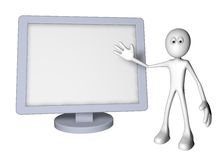 Flatscreen. White guy and flatscreen monitor - 3d illustration Stock Photography