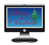 Flatscreen met Kerstmisslogan Stock Afbeelding