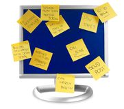 Flatscreen monitor with notes written on it Stock Image