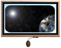 Flatscreen Monitor With Sun And Planet In Display stock photos