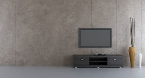Flatscreen to face a blank wall. Blank stone wall with flatscreen, rack and vases - right side and front view Stock Photos