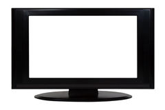 Flatscreen TV. Black flatscreen tv with copyspace - isolated Royalty Free Stock Photography
