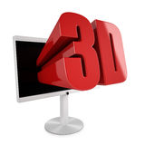 Flatscreen TV with 3D stereocopic. Feature and 3D logo reaching out Stock Photo