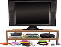 Flatscreen TV and cabinet Stock Photography