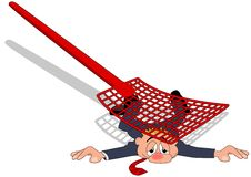 Flattened. A businessman flattened by fly swatter Stock Photography
