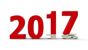 2016-2017 flattened #2. 2016-2017 change represents the new year 2017, three-dimensional rendering, 3D illustration Royalty Free Illustration
