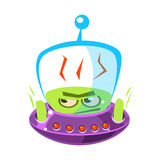 Flattened, flushed green alien, cute cartoon monster. Colorful vector character Stock Image