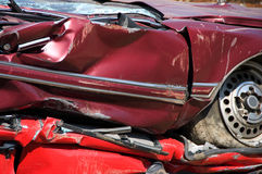 Flattened red cars royalty free stock photography
