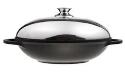 Flatter-bottomed wok pan covered by metal lid Royalty Free Stock Photography