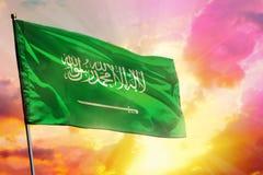 Flatternde Saudi-Arabien Flagge auf sch?nem buntem Sonnenuntergang- oder Sonnenaufganghintergrund Unterschiedliche Kugel 3d stockfoto