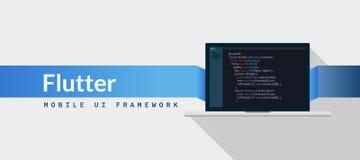 Flatteru UI struktury strzałki język programowania z pismo kodem na laptopu ekranie, języka programowania kodu ilustracja ilustracja wektor