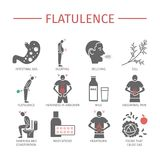 flatulencia Síntomas, tratamiento Iconos fijados Muestras del vector Fotografía de archivo libre de regalías