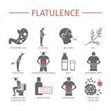 flatulenza Sintomi, trattamento Icone impostate Segni di vettore Fotografia Stock Libera da Diritti