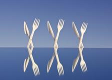 flatware πλαστικό λευκό καθρεφ Στοκ φωτογραφίες με δικαίωμα ελεύθερης χρήσης