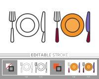 Flatware cutlery ikony kolorystyki liniowa strona royalty ilustracja