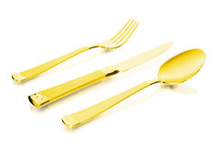 Flatware do ouro Fotografia de Stock