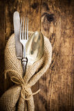 Flatware the old wooden table with a rustic style. Stock Image
