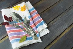 Flatware serving ready for dinner, fall concept Royalty Free Stock Photos