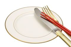 Flatware on white background. Royalty Free Stock Image