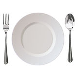 Flatwares fork plate spoon Royalty Free Stock Photo