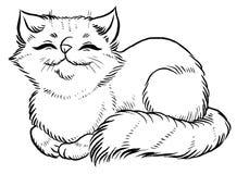 Flaumige Katze schläft bequem Lizenzfreie Stockfotografie
