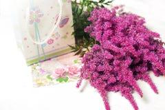Flaumige lila Blumen des Blumenstraußes Stockbilder