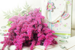 Flaumige lila Blumen des Blumenstraußes Lizenzfreies Stockfoto