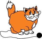 Flaumige rothaarige Katze und Schlaufe Einfache Zeichnung stock abbildung