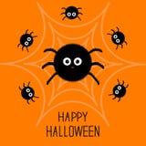 Flaumige Spinne der netten Karikatur im Netz eingestellt Helloween Karte Flaches Design Lizenzfreie Stockfotografie