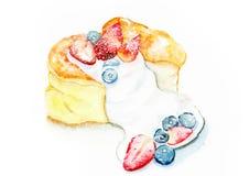 Flaumiger Pfannkuchen mit Beere Stockfoto