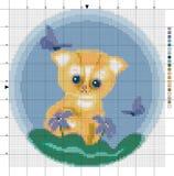 Flaumiges Kätzchen mit Schmetterlingen Kreuzstichentwurf Lizenzfreie Abbildung