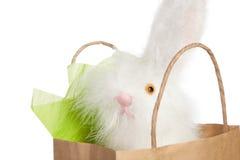 Flaumiges weißes Osterhasengeschenk Stockfoto