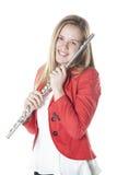 Flauta adolescente de los controles en estudio Foto de archivo libre de regalías