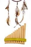 Flauta de la cacerola con el dreamcatcher Fotografía de archivo libre de regalías