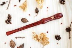 Flauta de madeira do registrador de Brown foto de stock royalty free