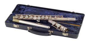 Flauta de plata vieja, aislada Imagenes de archivo