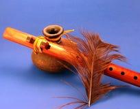 Flauta del nativo americano Imágenes de archivo libres de regalías