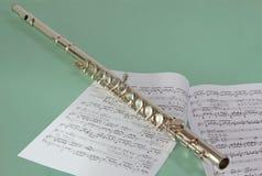 Flauta e notas Fotos de Stock