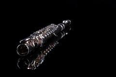 Flauta en fondo negro Imagen de archivo libre de regalías