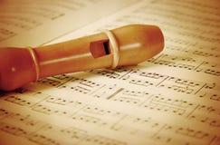 Flauta en madera Foto de archivo libre de regalías